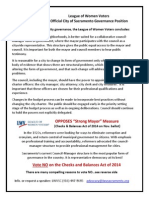 League of Women Voters City Governance Position & Reasons