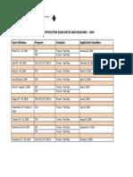 API 2014 Exam Schedule