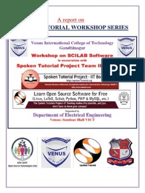 1 - SCILAB Workshop Series | Tutorial | Electrical Engineering
