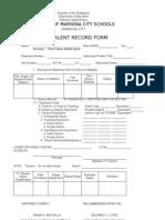 Equivalent Record Form