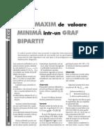 Cuplaj MAXIM de Valoare Minima Intr-un Graf Bipartit