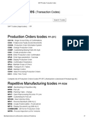 SAP PP Tcodes (Transaction Codes) | Supply Chain Management