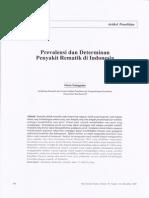 Prevalensi Dan Determinan Penyakit Rematik Di Indonesia (Des 2009)