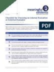 Internal or External Evaluation Checklist