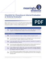 Internal or External Evaluation Checklist