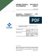 Iso-ts 22002-1 2011 Programas Prerrequisitos Sobre Inocuidad de Los Alimentos Parte 1 Fabricación de Alimentos