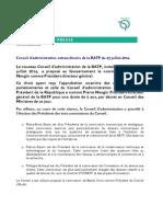 Cp Conseil Dadministration Extraordinaire de La Ratp Du 23 Juillet 2014