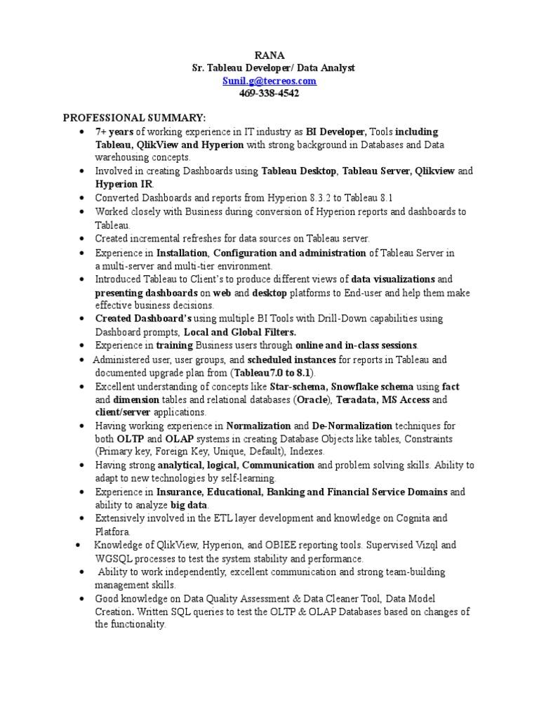Tableau Developer Resume.Tableau Developer Resume
