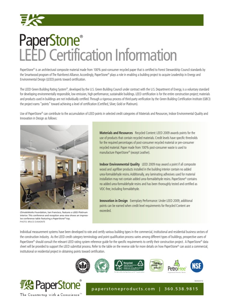 Ps Leed Certification Information 063010 Leadership In Energy And
