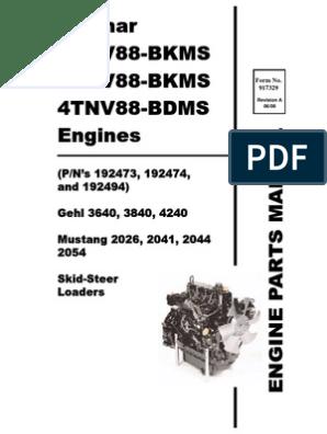 SL3640 SL3840 SL4240 Skid Loader Yanmar 3TNV88 4TNV88 Engine ... on yanmar starter, yanmar parts catalog, diagram of a molded case switch diagram, yanmar parts breakdown, yanmar alternator wiring, yanmar fuel pump diagram, yanmar wire harness, yanmar ym2200 parts, ignition switch diagram, yanmar tractor, yanmar generator, yanmar engine diagram, yanmar 3gm30f parts diagram, yanmar voltage regulator,