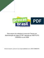 Prova Objetiva Tecnico Em Administracao Ipt Sp 2008 Instituto Cidades