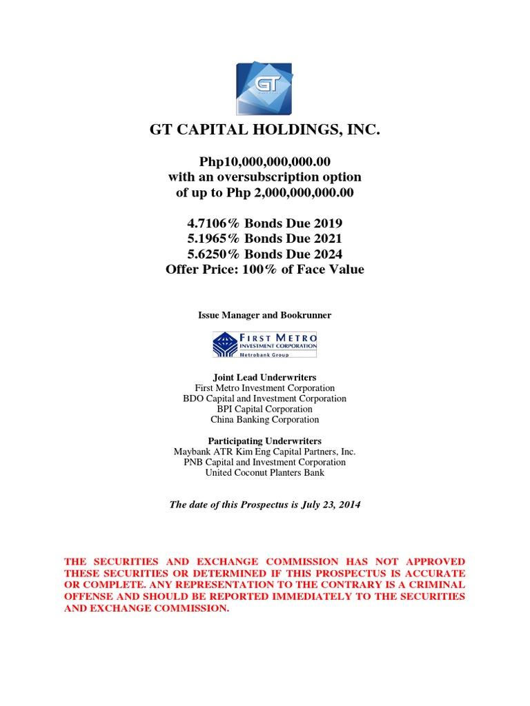 Gt capital up to p12b bond issue bonds finance underwriting malvernweather Choice Image