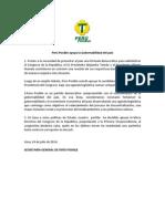 Comunicado Perú Posible Apoya Gobernabilidad Del País