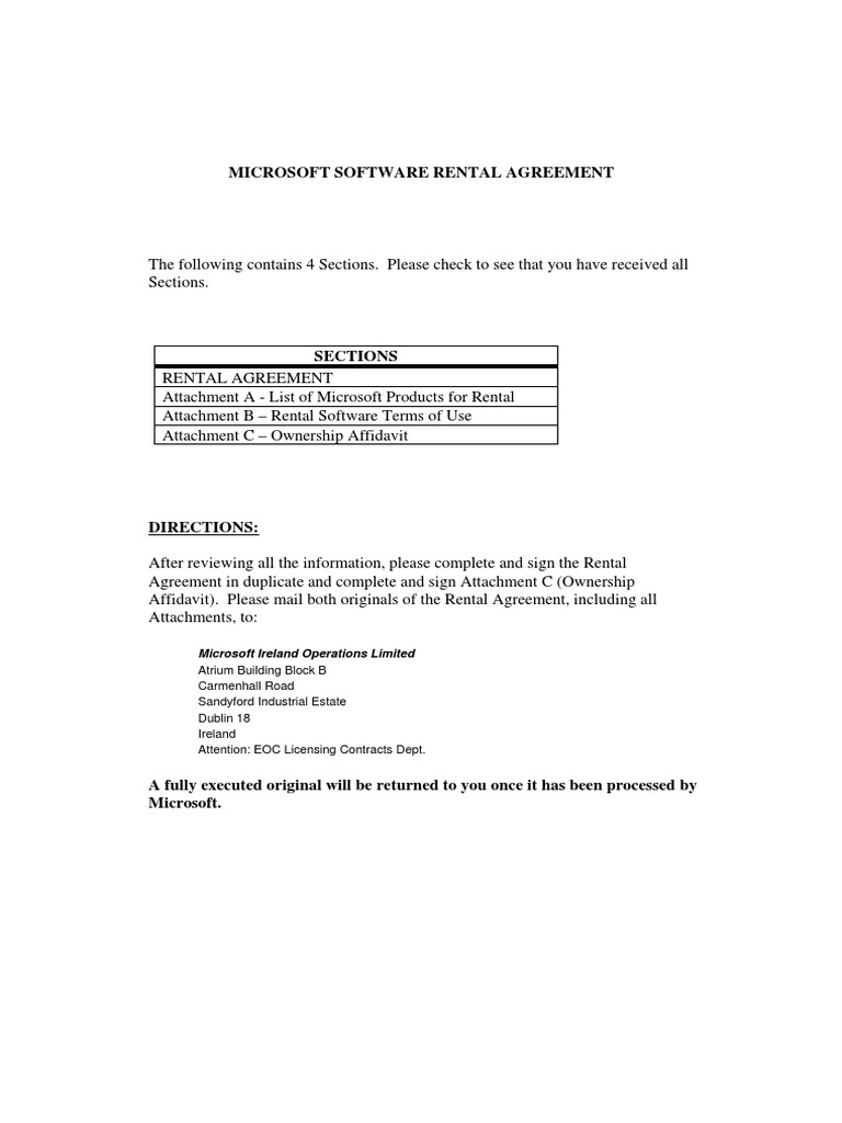 Microsoft Software Rental Agreement 2004 Lease Personal Computers