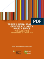 Trade Liberalisation Gender Equality Policy Space the Case of the Contested EU India FTA