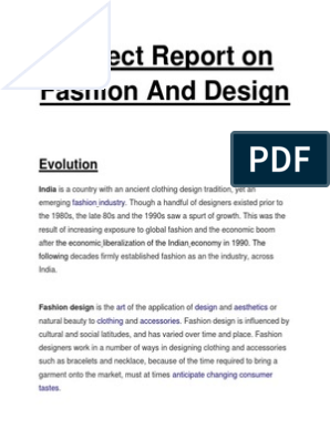 Project Report On Fashion And Design Fashion Design Fashion