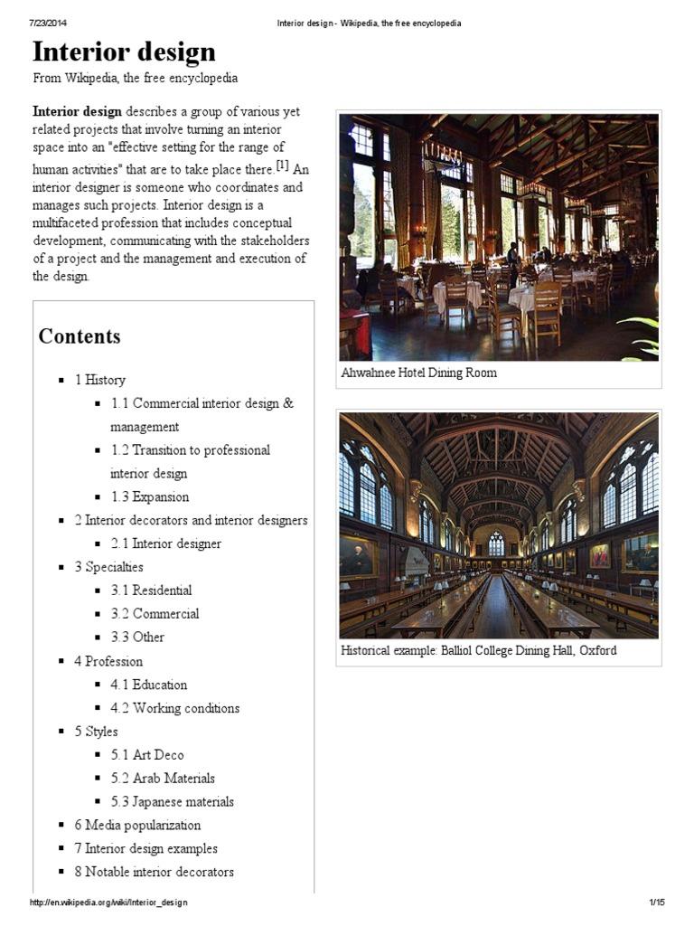Interior Design Wikipedia The Free Encyclopedia Decorative Arts