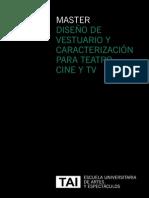 Máster en Diseño de Vestuario y Caracterización para Teatro, Cine y TV, Escuela TAI