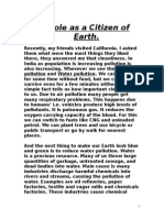 My Role as a Citizen of Earth