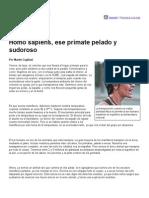 Página_12 __ Futuro __ Homo Sapiens, Ese Primate Pelado y Sudoroso