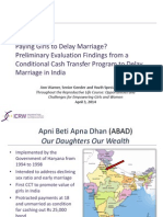 Paying Girls to Delay Marriage? Preliminary Evaluation Findings from a Conditional Cash Transfer Program to Delay Marriage in India, Ann Warner