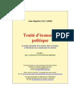 Say Jean-Baptiste - Traite d Economie Politique Livre 1