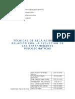 Tecnicas de Relajacion y Su Relacion Con La Reducción de Las Enferm. Psicosomaticas