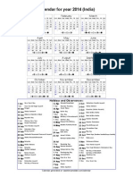 Year 2014 Calendar – India