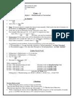 Class 10 Formula Icse