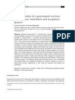 CARTER, L. BÉLANGER, F. the Utilization of E-government Services Citizen Trust, Innovation and Acceptance Factors. Information Systems Journal, V. 15, n. 1, p. 5–25, Jan. 2005.