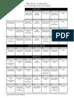 Insanity Calendar Schedule
