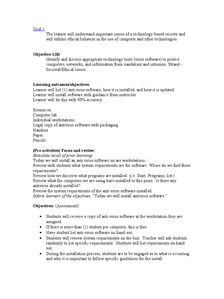 Computer Lesson Plan   Antivirus Software   Computer Virus