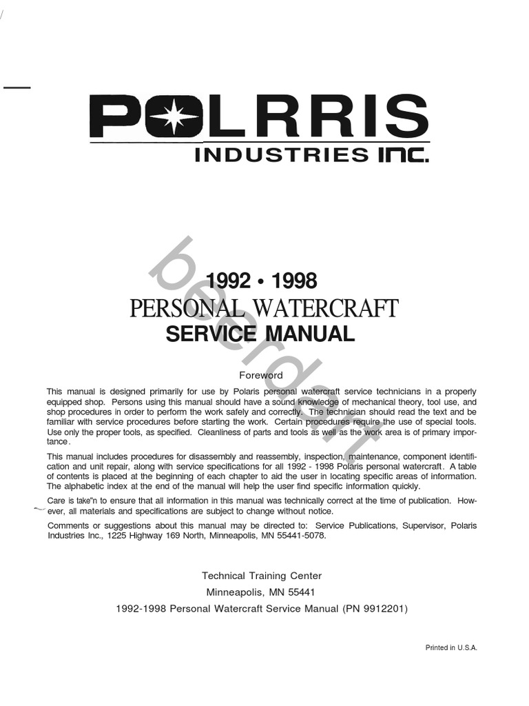 Polaris Pwc 1992 1998 Factory Service Manual Ski Doo Wiring Diagram Online