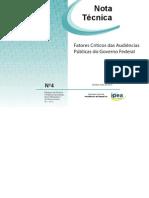 Factores Criticos de Las Audiencias Publicas Del Gobierno Federal-2013