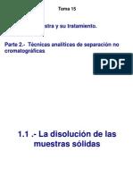 Tema 15 .- La Muestra y Su Tratamiento. Tecnicas Analiticas de Separacion No Cromatográficas