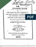 La Exposición de Los Motivos Que Justifican Por Parte de Chile, La Reivindicación Del Territorio Comprendido Entre Los Paralelos 23 y 24 Latitud Sur. Refutación. (1879)