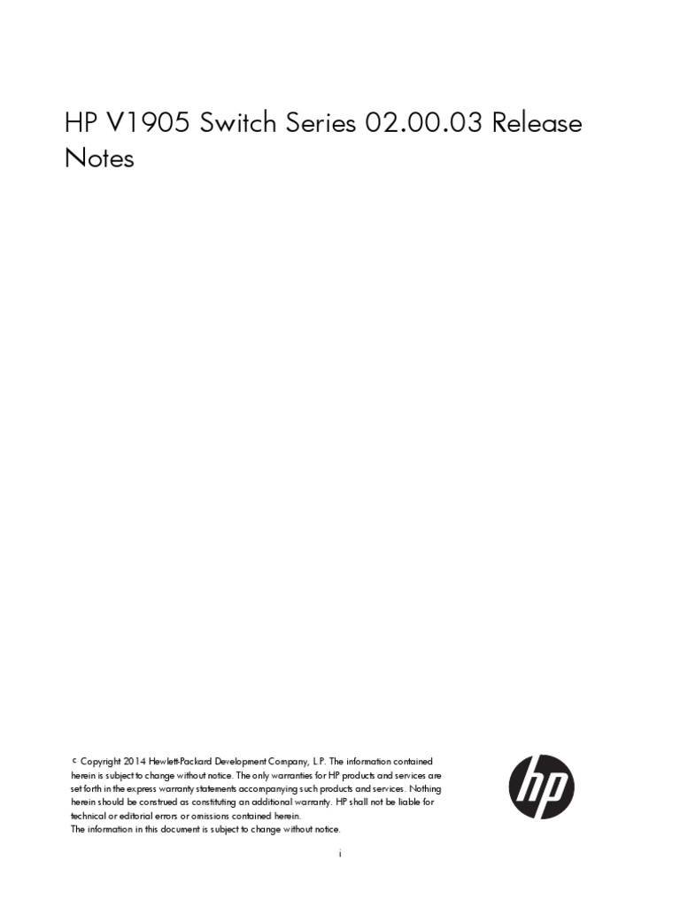 HP V1905 Switch Series 02.00.03 Release Notes | Computer Networking |  Computer Architecture