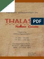 Thalassa Speisekarte - Lang