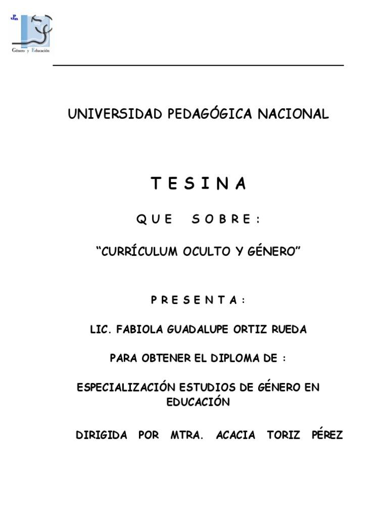 Curriculum Oculto Genero