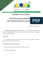 Orientações Gerais Para Participação Na VIII Conferência_01.11.2011-Informe CNAS 005