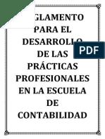Reglamento Para El Desarrollo de Las Prácticas Profesionales en La Escuela de Contabilidad