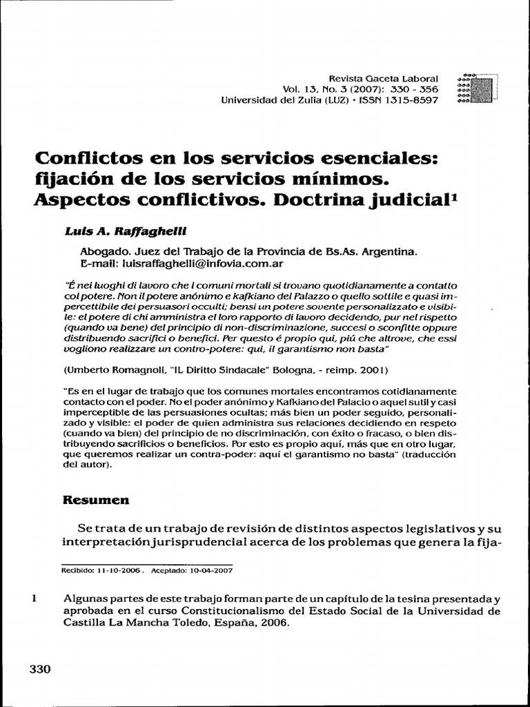 Conflictos en Los Servicios Esenciales