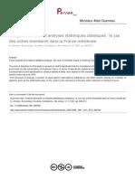 Analyse Factorielle Et Analyses Statistiques Classiques Et Les Ordres Mendiants (a. Guerreau)