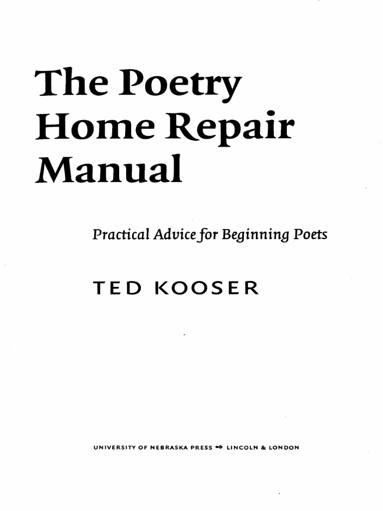 Poetry home repair manual ted kooser poetry reading process fandeluxe Choice Image