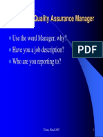 Role of quality assurance manager