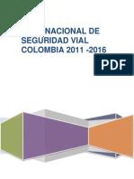 Plan Nacional de Seguridad Vial 2011-2016 Colombia