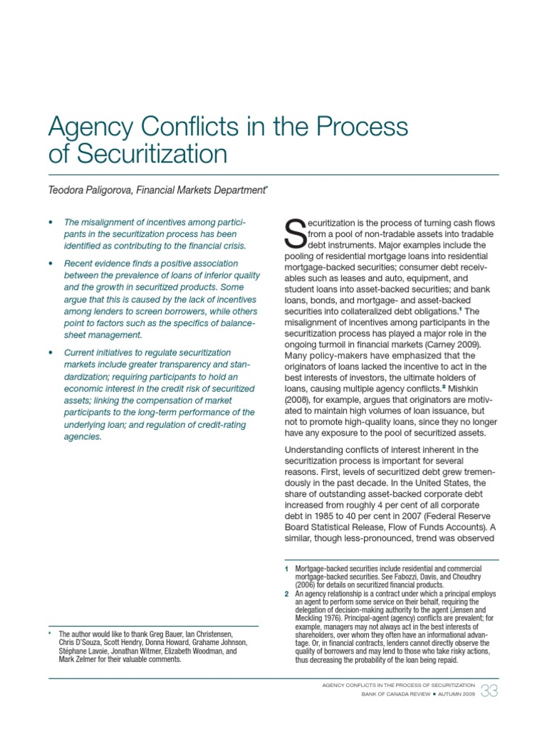 Agency Conflicts in the Process of Securitization Paligorova