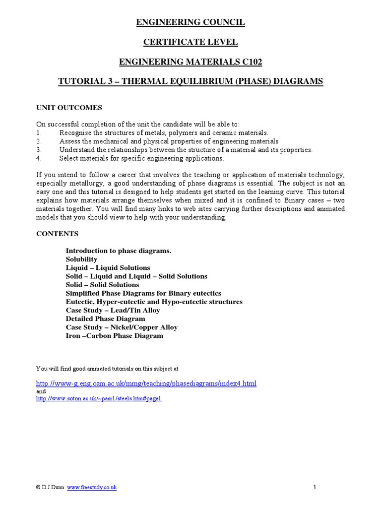 Thermal Equilibrium  Phase  Diagrams