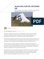 Ukraine Fighting Prevents Crash Site Visit Despite International Deal