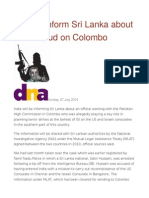 India to Inform Sri Lanka About Terror Cloud on Colombo